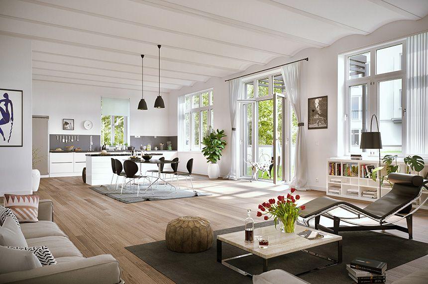Neubau Mehrfamilienhäuser, Umnutzung Gartenhaus, Visualisierung: gruender-av